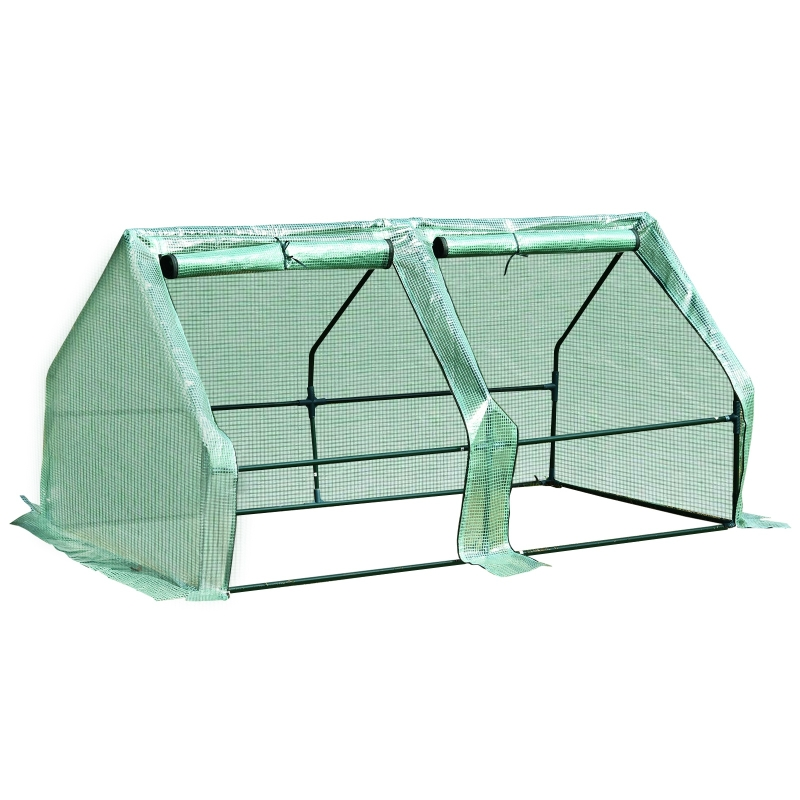 Outsunny 180x90x90cm Mini PE Grid Cover Steel Frame Greenhouse Green
