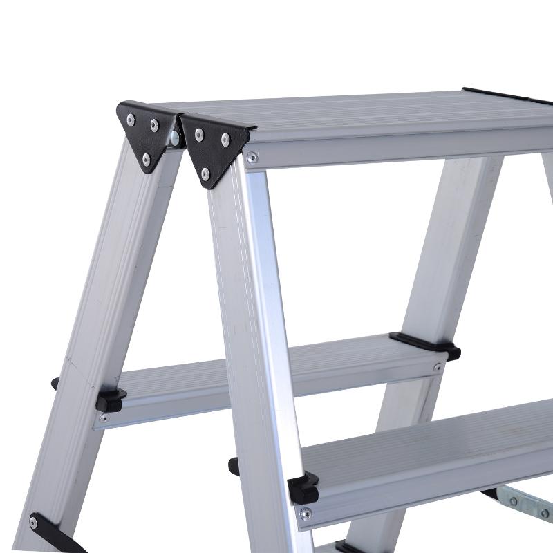 HOMCOM Aluminium Double Sided Folding 3 Step Ladder Silver
