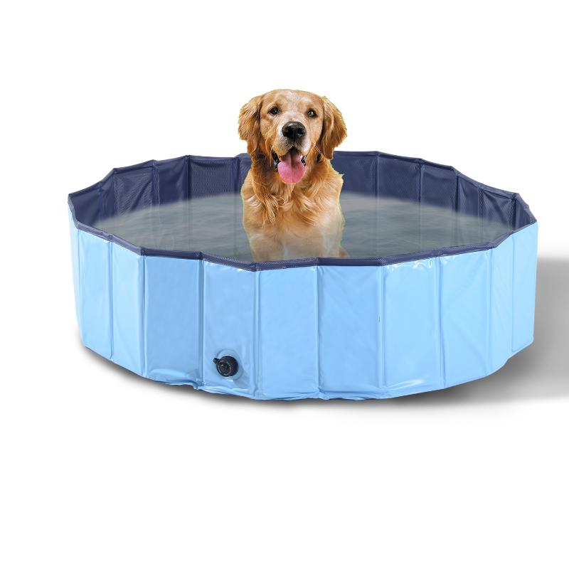 PawHut Pet Swimming Pool, Foldable, 120 cm Diameter-Blue
