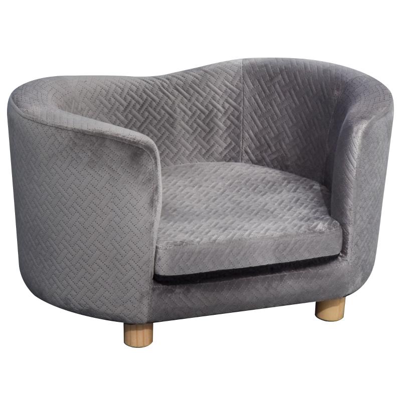 PawHut Velvet Upholstered Small Pet Bed Grey