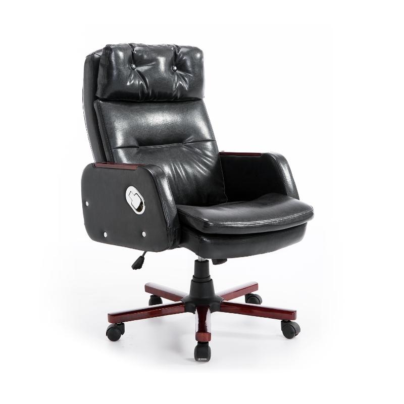 HOMCOM PU Leather Adjustable Office Chair-Black