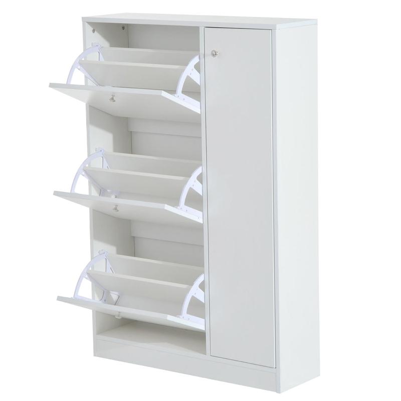 HOMCOM Entryway Shoe Cabinet, 4 Doors-White