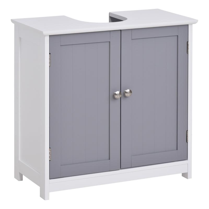 kleankin MDF Double-Door Under Sink Bathroom Cabinet Grey