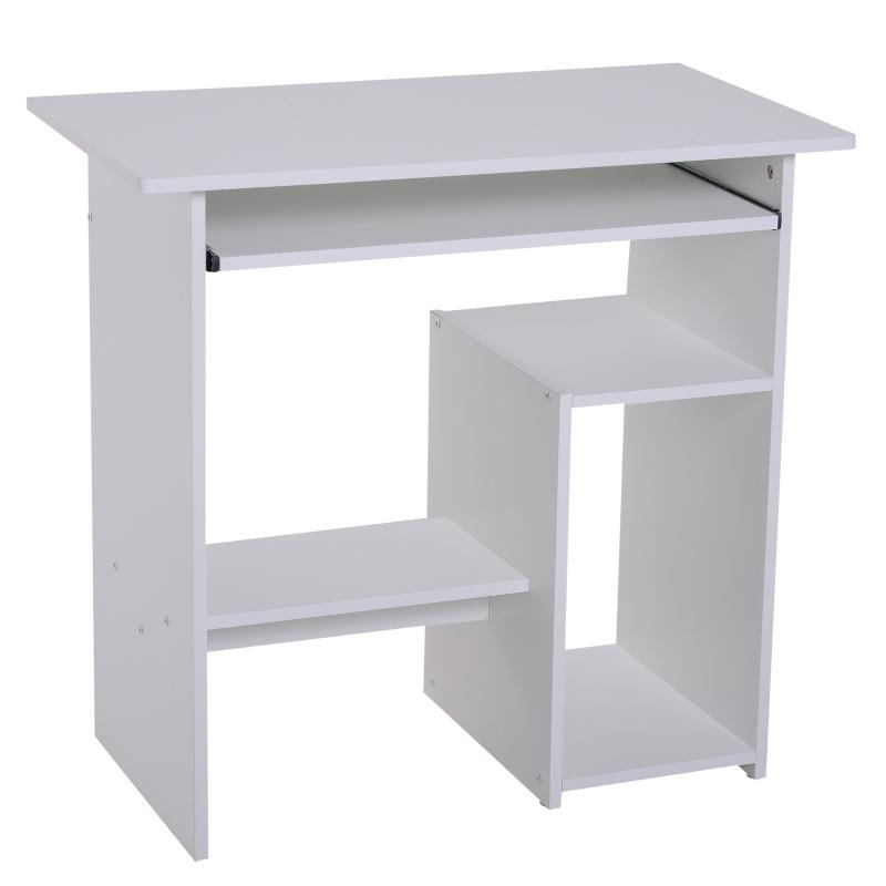 HOMCOM Compact Small Computer Table Wooden Desk Keyboard Tray Storage Shelf Corner