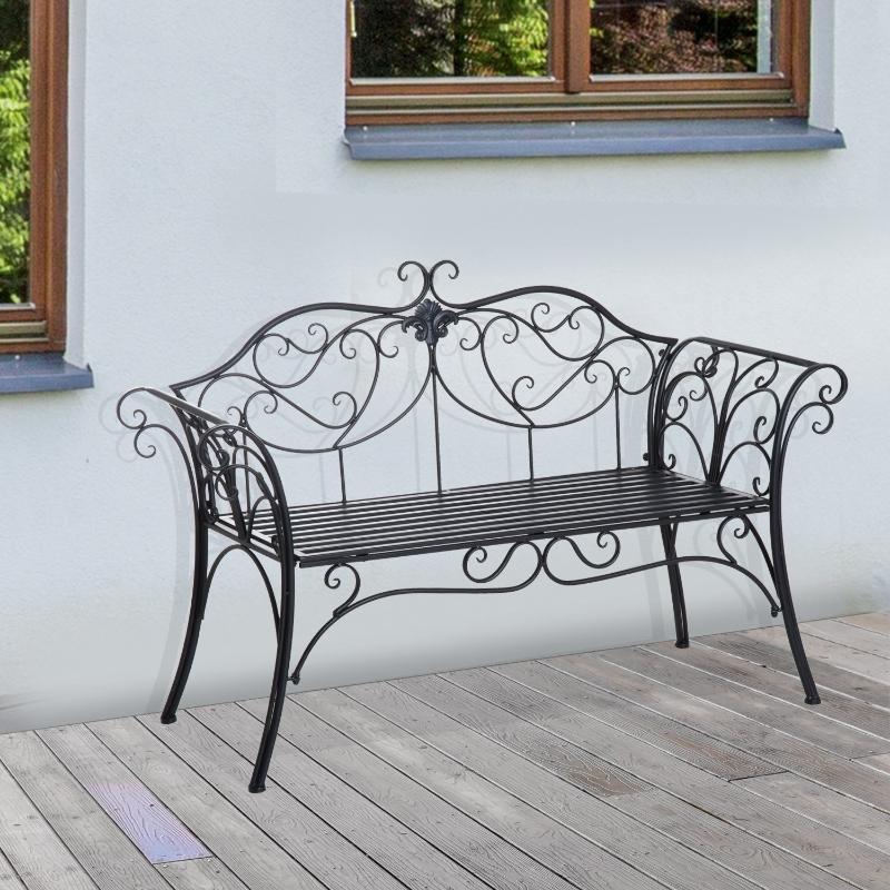 Outsunny Garden Bench Porch Outdoor Seat Chair Backrest Metal Black Park