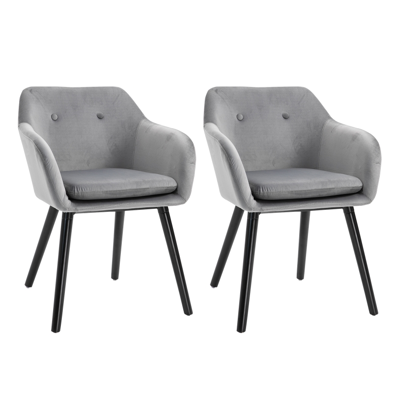 HOMCOM Velvet Tufted Set Of 2 Kitchen Dining Armchairs Grey