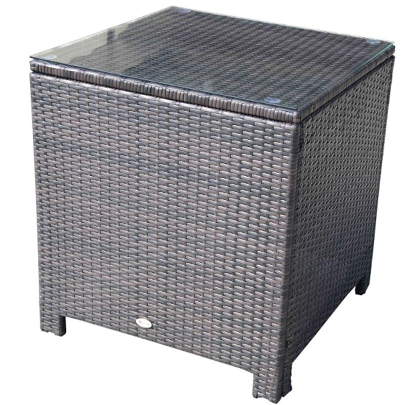 Outsunny Rattan Side Table-Brown