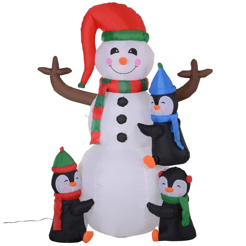 HOMCOM Christmas Inflatable Snowman and Penguins Outdoor Home Seasonal Decoration w/ LED Light