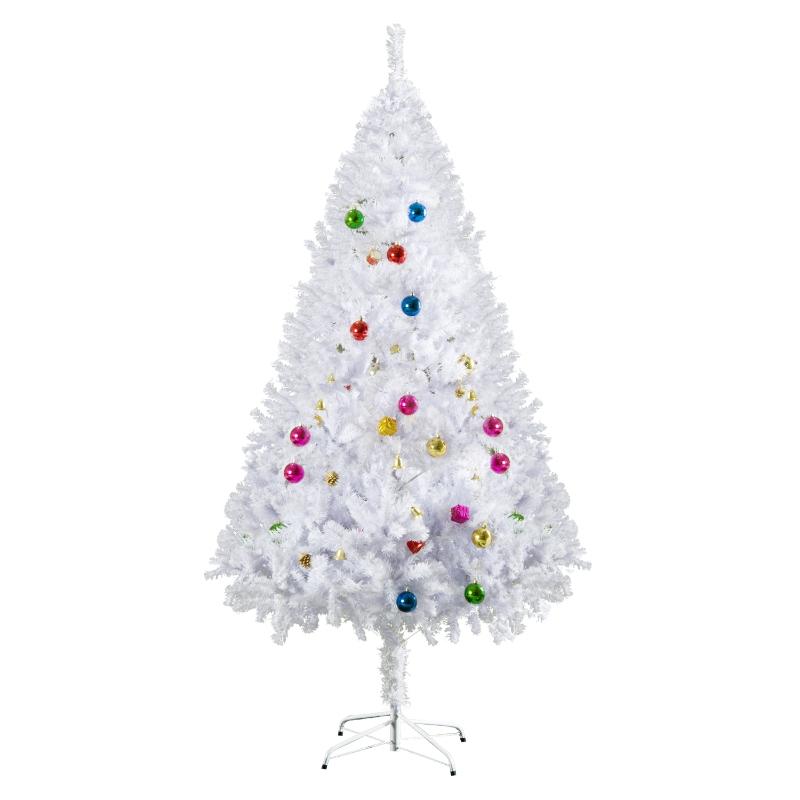 HOMCOM 5.9ft Artificial PVC Christmas Tree w/ Ornaments White