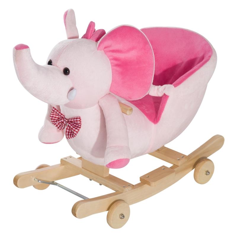 HOMCOM Baby Horse Rocker Kids Rocking Horse Animal Rocker 2 in 1 Rocking Elephant Wooden W/Wheels and Sound -Pink