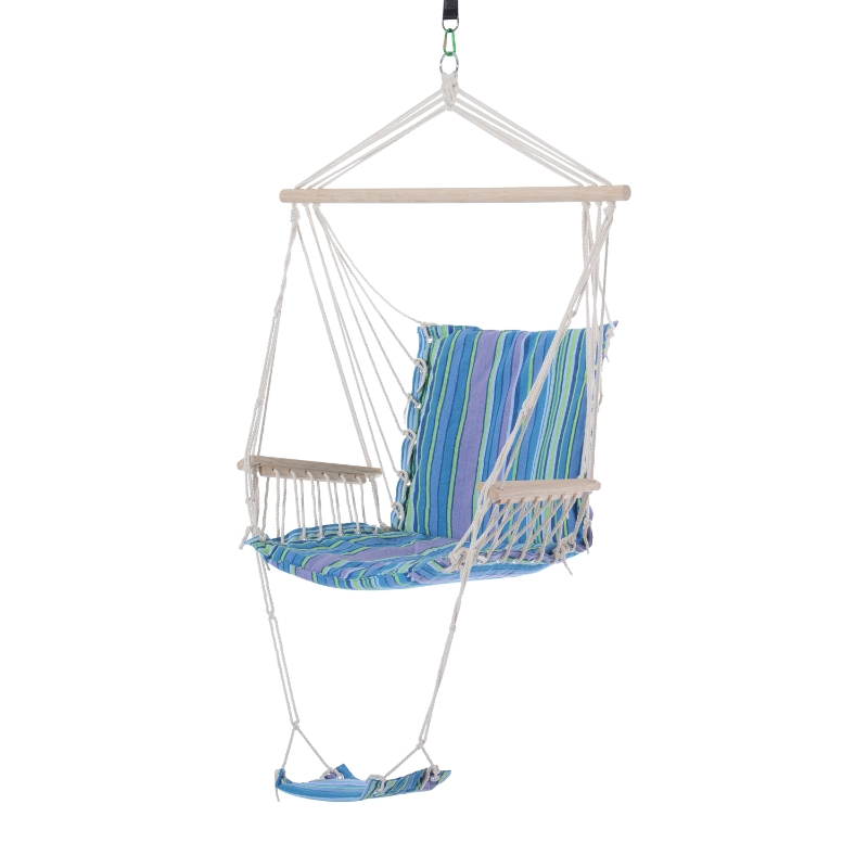 Outsunny Hanging Swing Chair, Seat Size:57W x 47.5D cm-Multi-Color/White Rope