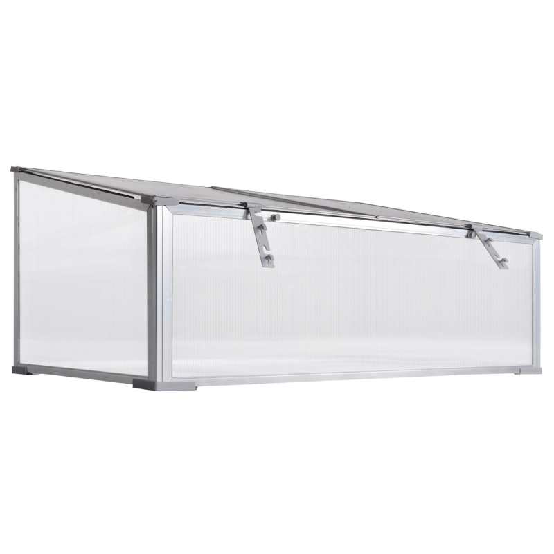 Outsunny Garden Polycarbonate Cold Frame Greenhouse Grow House Flower Vegetable Plants Bed Aluminum Frame  99L x 59.5W x 43.5H cm