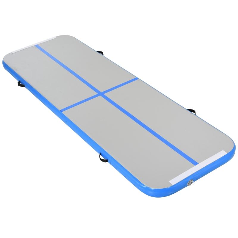 HOMCOM PVC Inflatable Exercise Mat w/ Pump Blue