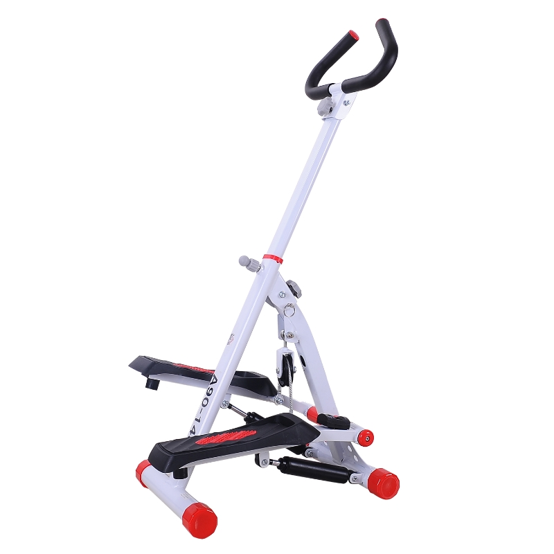 HOMCOM Steel Home Fitness Stepper Machine with Handles Red