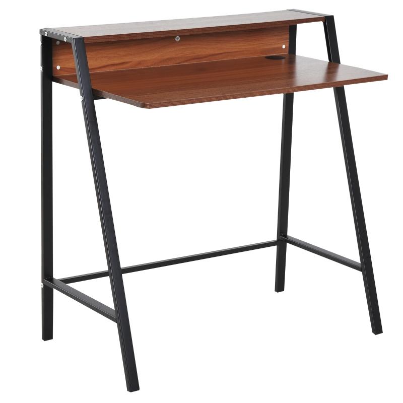 HOMCOM Wooden Writing Desk Computer Table Home Office PC Laptop Workstation Storage Walnut