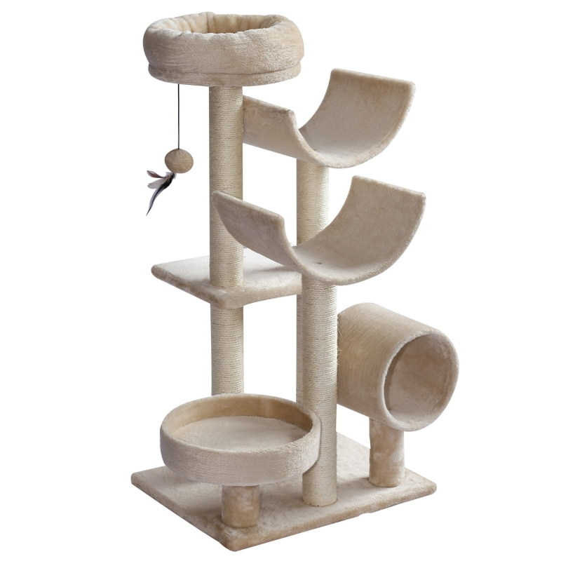 PawHut Cats 6-Tier Scratch Tree w/ Dangle Toy Beige