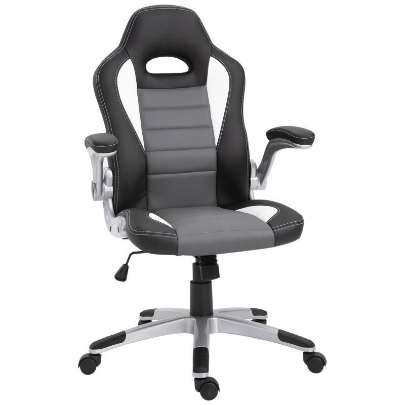 HOMCOM PU Leather Racing Office Chair-Black/Grey/White