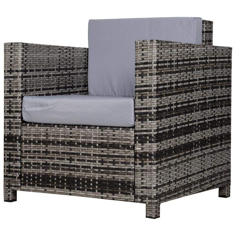 Outsunny Rattan Outdoor Garden Single Sofa Armchair Grey