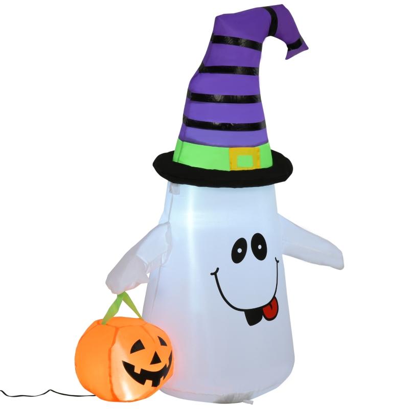 HOMCOM Halloween 1.2m LED Outdoor Inflatable Decoration - Ghost w/ Pumpkin Lantern