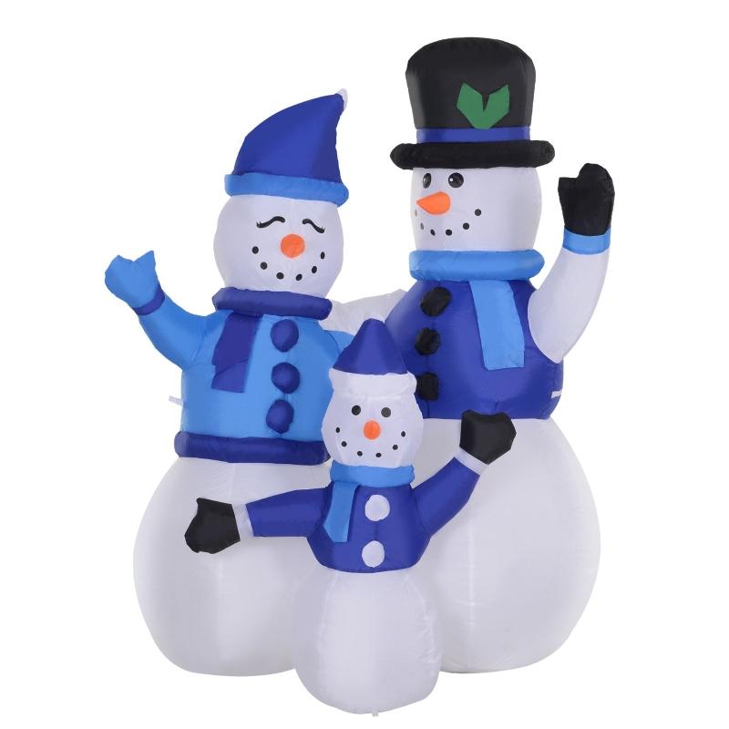 HOMCOM Christmas Inflatable Snowman Family Outdoor Home Seasonal Decoration w/ LED Light