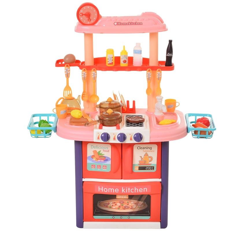 HOMCOM Kids Pretend Play PP Kitchen Set Pink/Purple