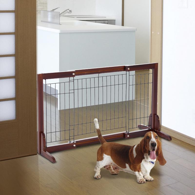 PawHut Pine Wood Freestanding Adjustable Pet Barrier Fence Brown