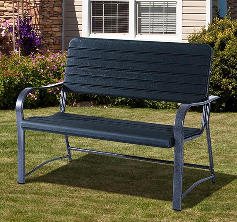 Outsunny Metal Frame 2 Seater Bench-Black, Atrovirens Slat
