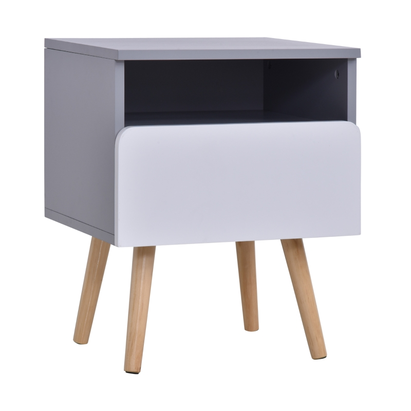 HOMCOM MDF Nordic Side Table White/Grey