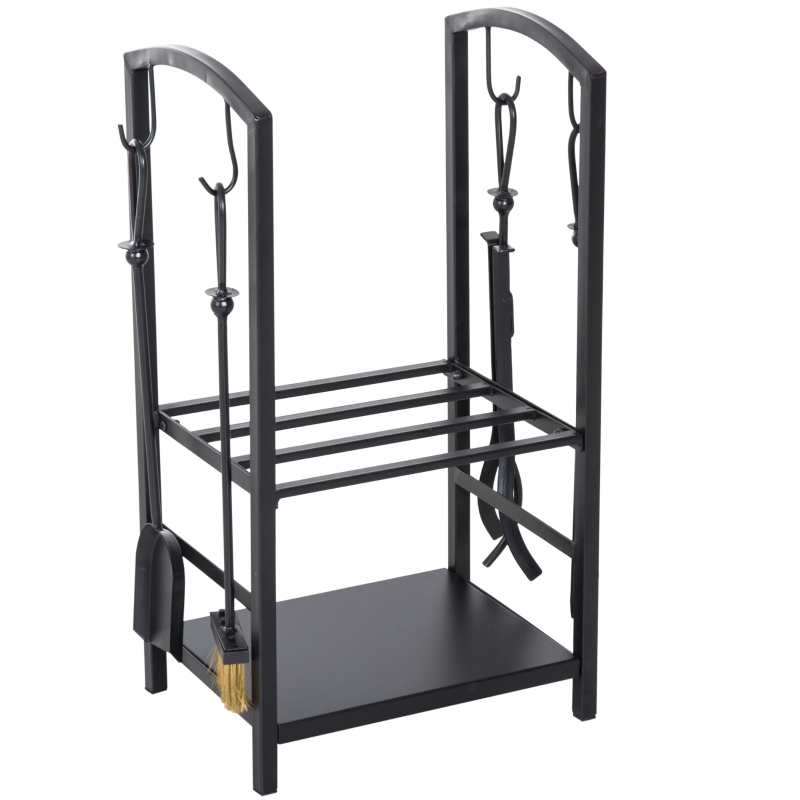 HOMCOM Wood Holder W/Accessories, Steel-Black