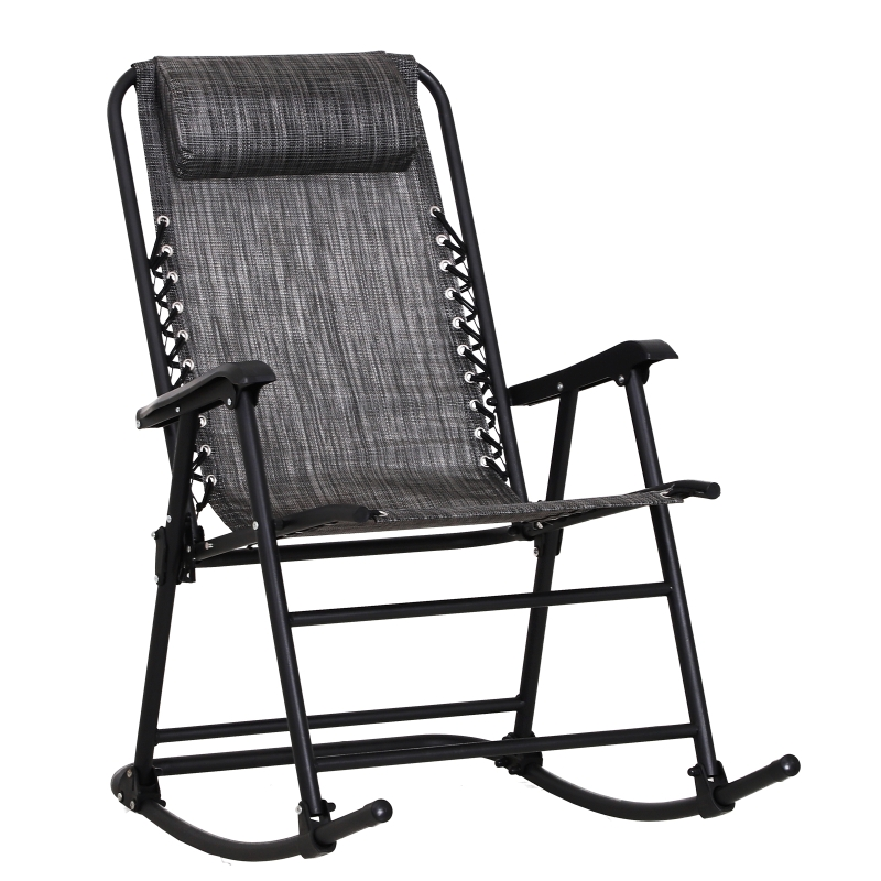 Outsunny Folding Rocking Chair Outdoor Portable Zero Gravity Chair w/ Headrest