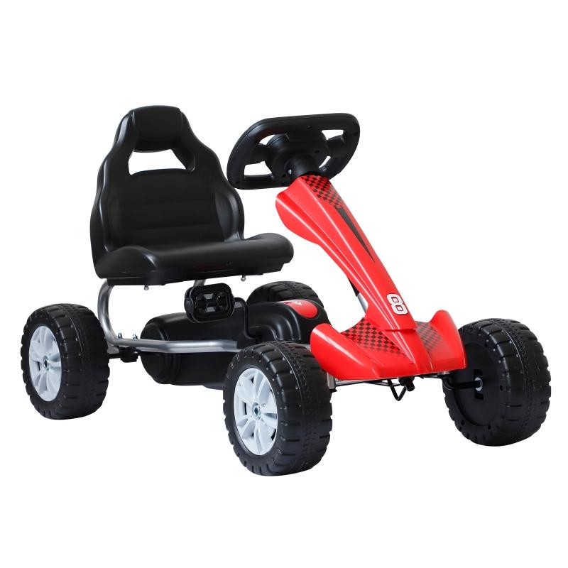 Homcom Pedal Go Kart Children'S Go Karts Children Manual Racing Wheel Rider -Red