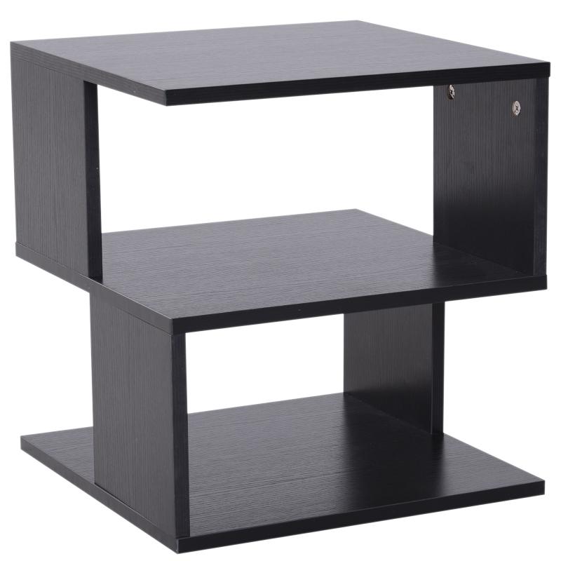 HOMCOM Modern Square 2 Tier Wood Coffee Side Table Storage Shelf Rack Living Room