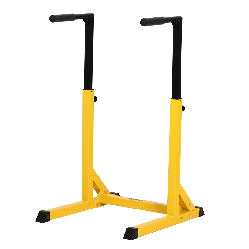 HOMCOM Dip Station, Steel Pipe PVC, 66Wx75Dx83-119H cm-Yellow/ Black