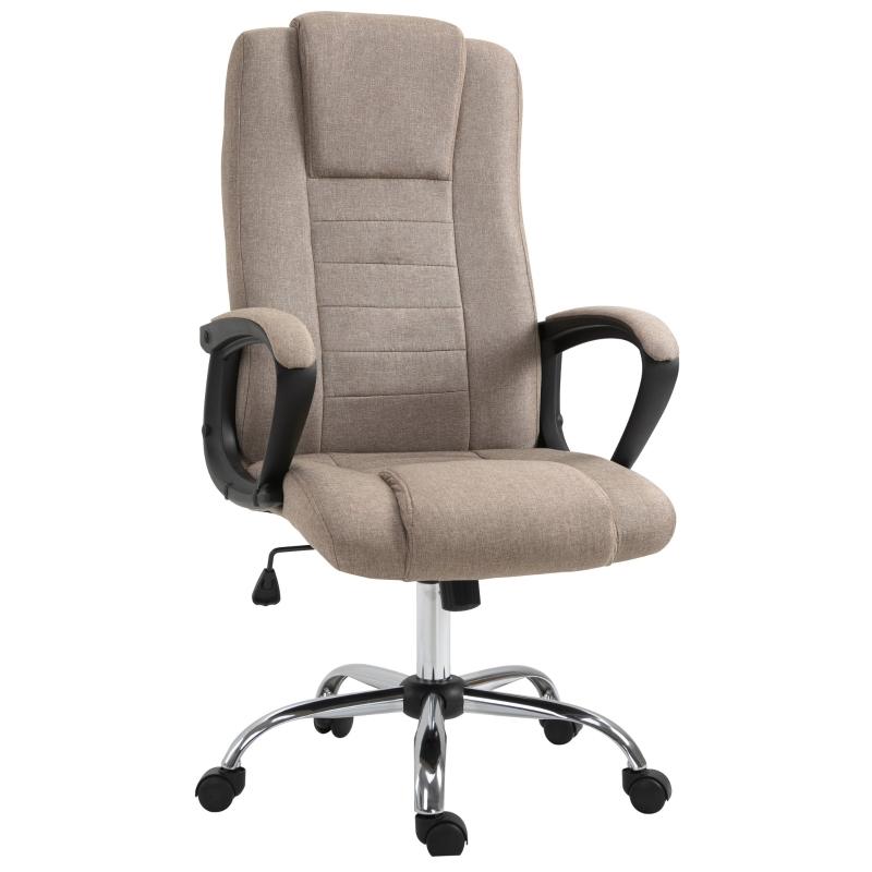 Vinsetto Linen Upholstered Tilting Home Office Chair Khaki