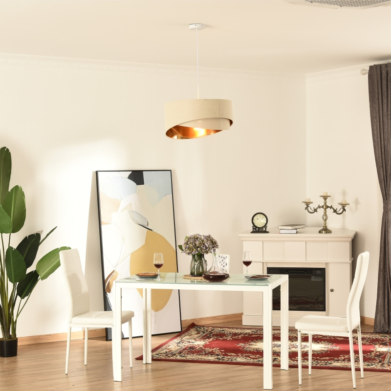 HOMCOM Modern Chandelier with Adjustable Chain and Bevel Nested Lampshade Home Office