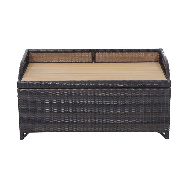 Outsunny Rattan Storage Bench, 102Lx51Wx51H cm-Mixed Brown