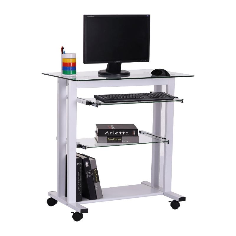 HOMCOM Workstation W/ Wheels-White, Transparent Glass
