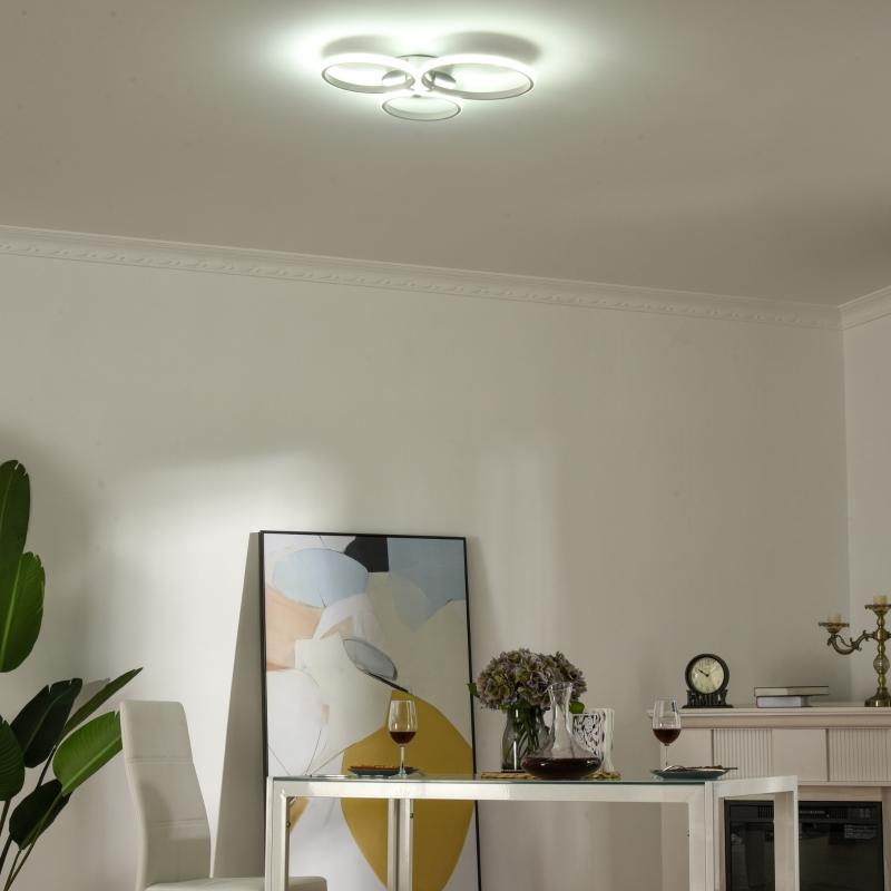 HOMCOM Three Circle LED Ceiling Modern Light with Metal Base for Hallway, Dining Room