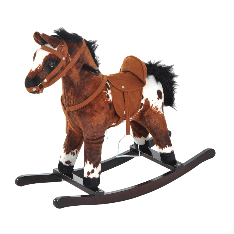 HOMCOM Children Plush Rocking Horse W/Sound-Dark Brown