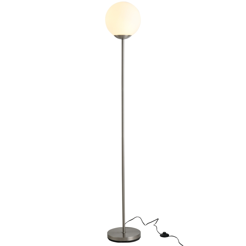 HOMCOM 171cm Glass Globe Floor Lamp Metal Frame Sphere Light Pedal Switch Unique Silver
