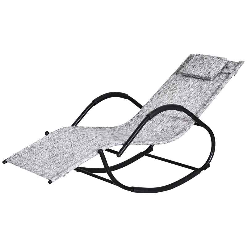 Outsunny Steel Frame Zero Gravity Rocking Lounge Chair w/ Pillow Grey