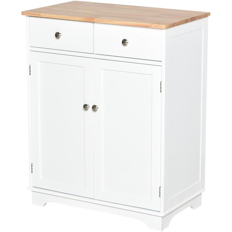 HOMCOM Kitchen Island MDF 2-Drawer Double Door Kitchen Cabinet White