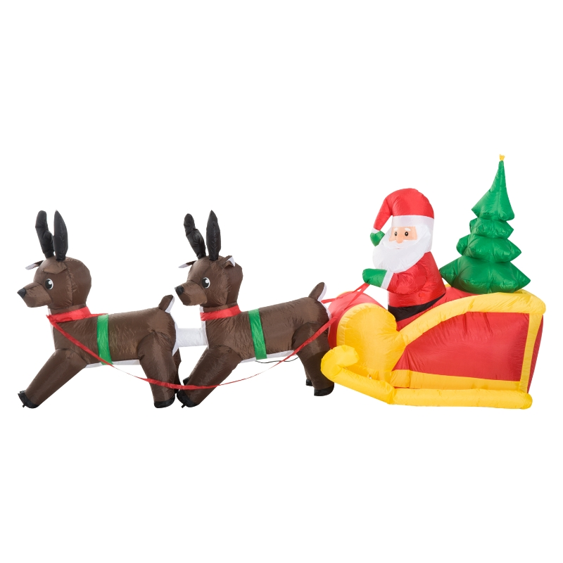 HOMCOM Inflatable Self-inflating Santa Sleigh