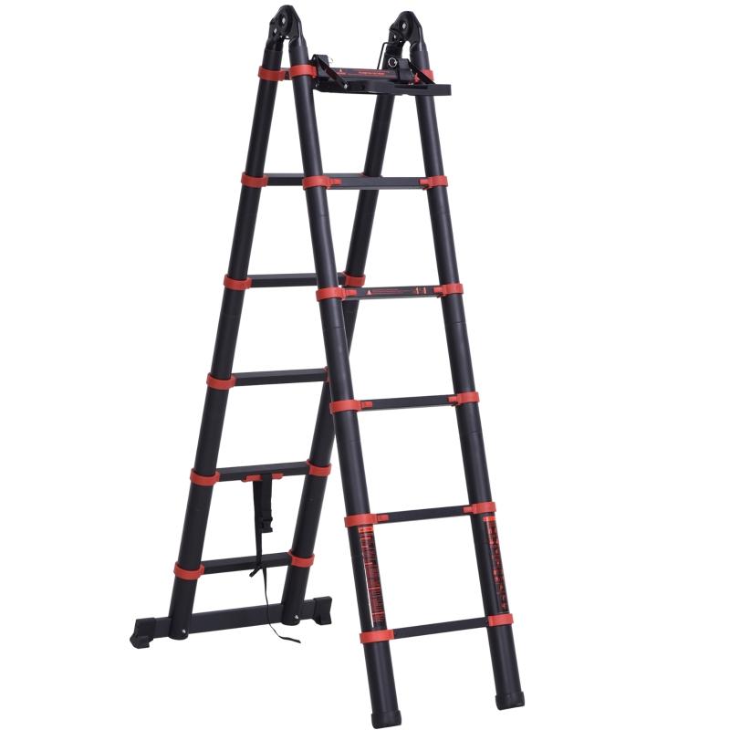 HOMCOM 3.8M Duo Aluminium Ladder w/ Tool Holder Herringbone Design Foldable