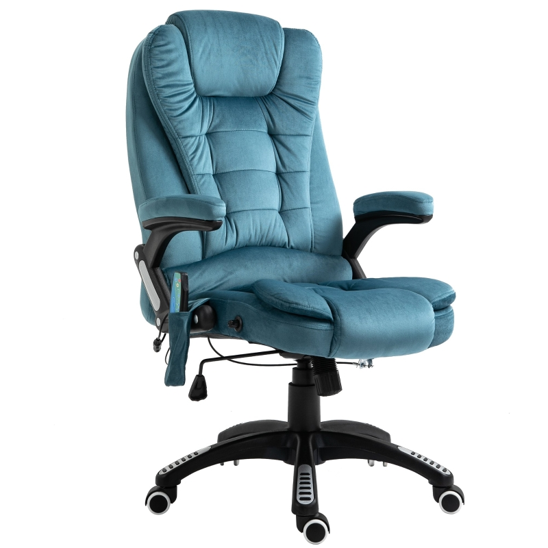 Vinsetto Faux Velvet Reclining Heated Massage Office Chair Blue