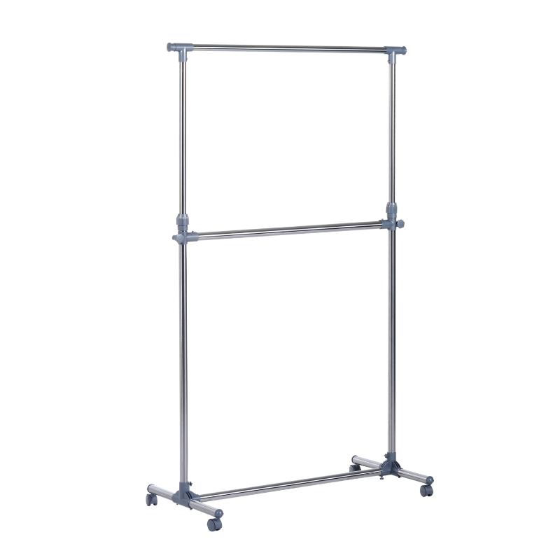 HOMCOM Heavy Duty Clothes Hanger W/Wheels-Silver/Grey