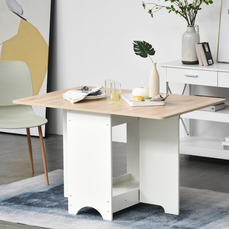 HOMCOM Drop-Leaf Dining Table Folding Desk Foldable Bar Table with Storage Shelf