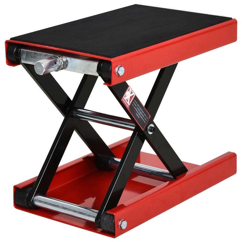 DURHAND Steel Manual Repair Motorcycle Lift Platform Red
