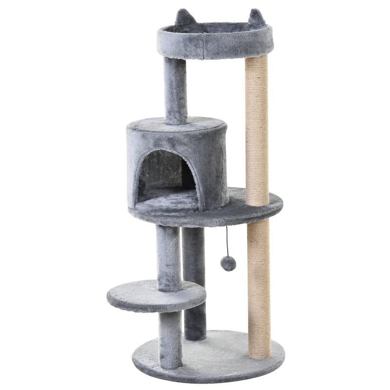 PawHut 3-Tier Deluxe Cat Activity Tree w/ Scratching Posts Ear Perch House Kitten Grey