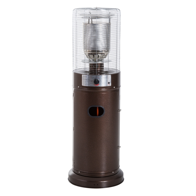 Outsunny Outdoor Gas Patio Heater Freestanding 5-11kW Metal Casing Garden Patio w/ Safety Switch Cafe Bar, Brown copper